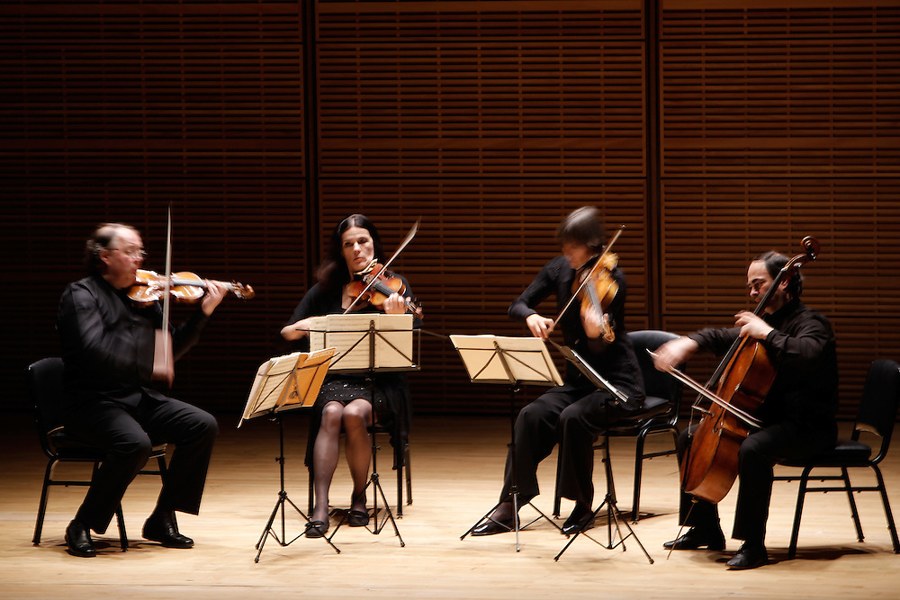 (L-R) Violinist Erich Hobarth, Violinist Andrea Bischof, Anita Mitterer on Viola and Christoph Coin on Cello of Quartour Mosaiques perform at Carnegie Hall on April 16, 2009 in New York city. photo by Joe Kohen for the New York times