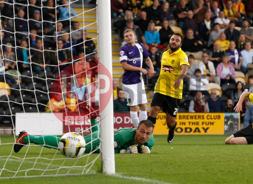 Burton Albion's Dean Lyness watches on as Oxford United's Alfie Potter shot beats him for the first goal  - Photo mandatory by-line: Matt Bunn/JMP - Tel: Mobile: 07966 386802 07/09/2013 - SPORT - FOOTBALL -  Pirelli Stadium - Burton upon Trent - Burton Albion V Oxford United - Sky Bet League Two