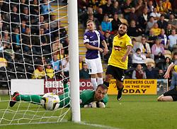 Burton Albion's Dean Lyness watches on as Oxford United's Alfie Potter shot beats him for the first goal  - Photo mandatory by-line: Matt Bunn/JMP - Tel: Mobile: 07966 386802 07/09/2013 - SPORT - FOOTBALL -  Pirelli Stadium - Burton upon Trent - Burton Albion V Oxford United - Sky Bet League Two