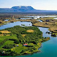 K&aacute;lfastrandarvogar, H&ouml;f&eth;i, M&yacute;vatn, Bl&aacute;fjall, Sk&uacute;tusta&eth;ahreppur. Loftmynd.<br /> <br /> Kalfastrandarvogar, Hofdi, Lake Myvatn, Mount Blafjall, Skutustadahreppur, Aerial