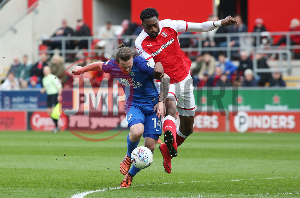 Jack Marriott of Peterborough United battles with Semi Ajayi of Rotherham United - Mandatory by-line: Joe Dent/JMP - 30/03/2018 - FOOTBALL - Aesseal New York Stadium - Rotherham, England - Rotherham United v Peterborough United - Sky Bet League One