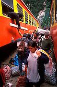 PERU, CUZCO - MACHU PICCHU TRAIN Aguas Calientes town below Machu Picchu