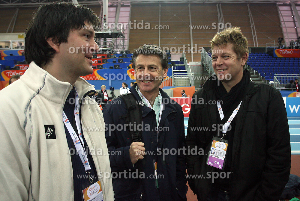 Uros Semrov, Albert Soba and Boris Licof at warming up day before European Athletics Indoor Championships Torino 2009 (6th - 8th March), at Oval Lingotto Stadium,  Torino, Italy, on March 5, 2009. (Photo by Vid Ponikvar / Sportida)