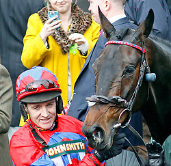 SPRINTER SACRE (Barry Geraghty) after The John Smith's Melling Chase at Aintree from Cue Card, Aintree Racecourse, Aintree, Merseyside, England. April 5, 2013. Photo by Racingfotos.com / i-Images...