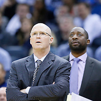 28 October 2015: Orlando Magic assistant coach Adrian Griffin and Orlando Magic head coach Scott Skiles are seen during the Washington Wizards 88-87 victory over the Orlando Magic, at the Amway Center, in Orlando, Florida, USA.
