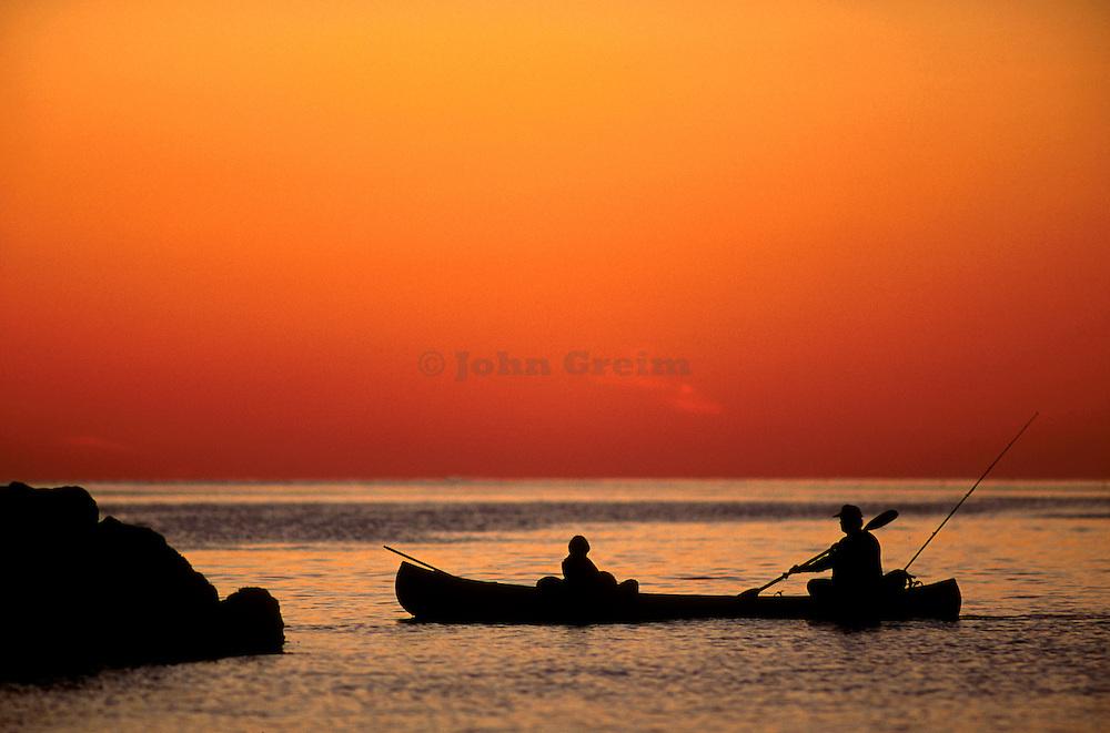 Fishing from a canoe, Martha's Vineyard,
