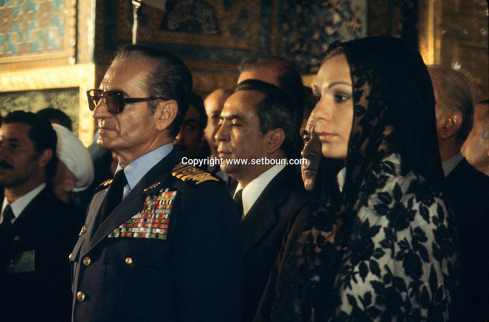 Iran - The royal family . the shah of IRAN Mohamed reza Palhavi, and farah diba. visit in The Holy Shrine of Imam Reza, Mashhad: the big MOSQUE  of Gohar  - Mashad  Iran   +