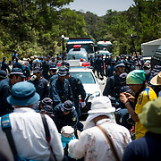 OKINAWA, JAPAN - AUGUST 19 : Anti U.S base protesters is seen being removed by police after staging a sit-in protest against the construction of helipads in front of the gate of U.S. military's Northern Training Area in the village of Higashi, Okinawa Prefecture, on August 19, 2016. Japanese government resume construction of total six helipads in a fragile ten million year old Yanbaru forest that is home to endemic endangered species such as the Okinawan rail and Okinawan wood pecker. (Photo by Richard Atrero de Guzman/NURPhoto)