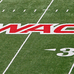 December 4, 2010; Ruston, LA, USA;  A logo for the WAC conference displayed on the field for a game between the Louisiana Tech Bulldogs and the Nevada Wolf Pack at Joe Aillet Stadium.  Mandatory Credit: Derick E. Hingle
