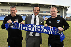 February 11, 2019 - Oldham, England, United Kingdom - Paul Scholes, pictured with club owner Abdallah Lemsagam and assistant manager Mick Priest. is unveiled as Oldham Athletic manager at Boundary Park, Oldham on Monday 11th February 2019. (Credit Image: © Mi News/NurPhoto via ZUMA Press)