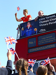 Lizzy Yarnold meets pupils from the Trinity School in Sevenoaks during the victory bus tour through Sevenoaks, Kent.