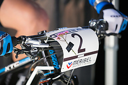 Michiel van der Heijden's numberplate, with a flower attached to remember Dutch mountainbiker Annefleur Kalvenhaar who died in a tragic accident during the 2014 UCI Mountainbike World Cup at Méribel, France on the 22nd of August.