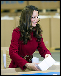 The Duke and Duchess of Cambridge help pack boxes  at the UNICEF Supply Division Copehagen. The Royal family's were helping to distribute emergency food and medical supplies to East Africa, Wednesday November 2, 2011. Photo By i-Images