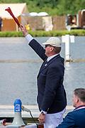 Henley on Thames, England, United Kingdom, 3rd July 2019, Henley Royal Regatta Umpire Matthew PINSENT,  Henley Reach, [© Peter SPURRIER/Intersport Image]<br /> <br /> 11:19:33 1919 - 2019, Royal Henley Peace Regatta Centenary,