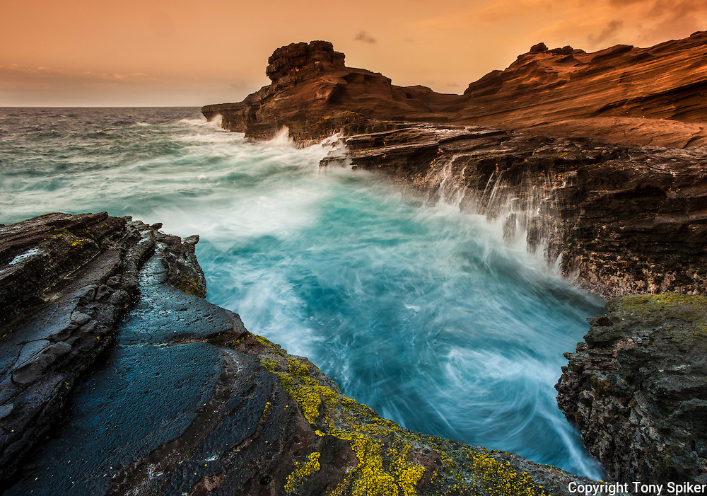 """South Shore Oahu Sunrise 1"" - Long exposure photograph of waves crashing on the South Shore of Oahu near Hanauma Bay."