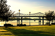 Rhodes Ferry Park at sunrise provides beautiful views of the 'Steamboat Bill' Memorial Bridge.