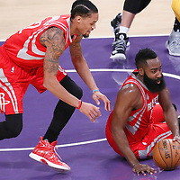 26 October 2016: Houston Rockets guard James Harden (13) is seen next to Houston Rockets guard K.J. McDaniels (32) during the Los Angeles Lakers 120-114 victory over the Houston Rockets, at the Staples Center, Los Angeles, California, USA.