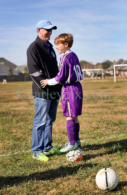 24 January 2016. Houma, Louisiana. <br /> Patrick and Paddy before the kick off. New Orleans Jesters Youth Academy U10 Purple vs Lafourche Legacy U11's. Jesters win 7-0. <br /> Photo©; Charlie Varley/varleypix.com