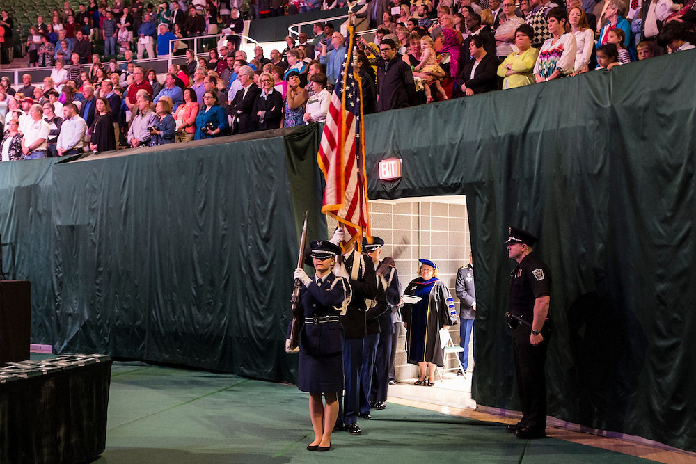 Members of the Ohio University Air Force ROTC serve as the color guard at the start of the Ohio University Graduate Commencement ceremony on Friday, May 1, 2015.  Photo by Ohio University  /  Rob Hardin
