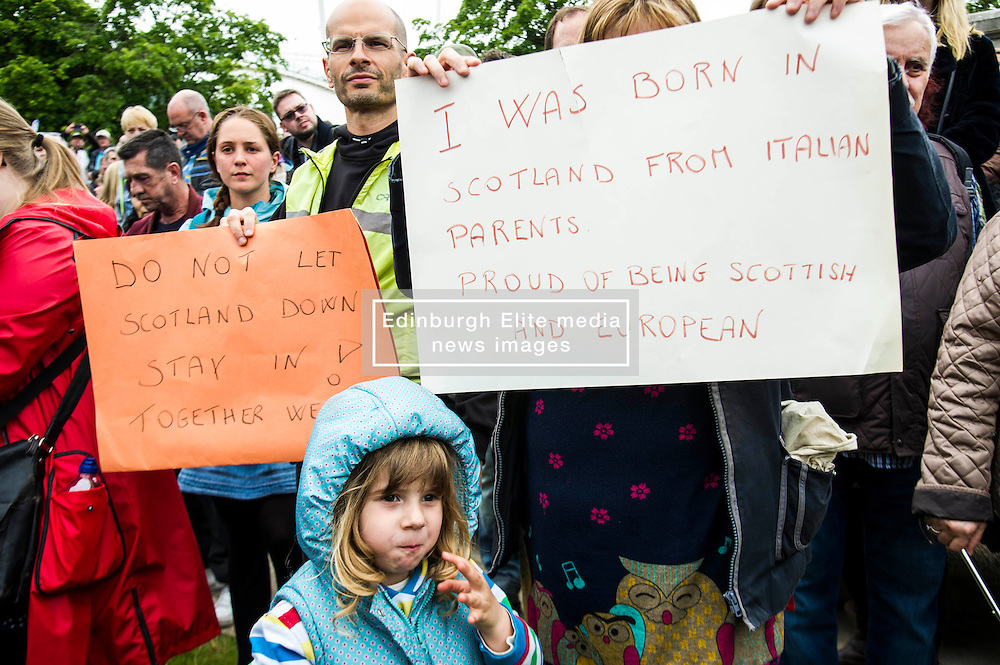 Pictured: Julia Rolle (4)<br /> Thousands of people gathered outside the Scottish Parliament to demonstrate for Scotland to remain part of EU. Young and old gathered in support of the European Movement Edinburgh  whoorganised the event inthe wake of the vote to leave<br /> <br /> <br /> Ger Harley | EEm 29 June 2016