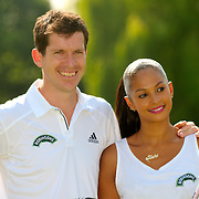 Alesha Dixon plays at Wimbledon