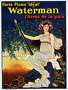 Porte plume 'Ideal' Waterman l'arme de la paix. A woman holding a giant fountain pen. (poster), lithograph, Paris Signed: Ogé. 1896. Translation of title: Carry the 'Ideal' Waterman pen, the weapon of peace.