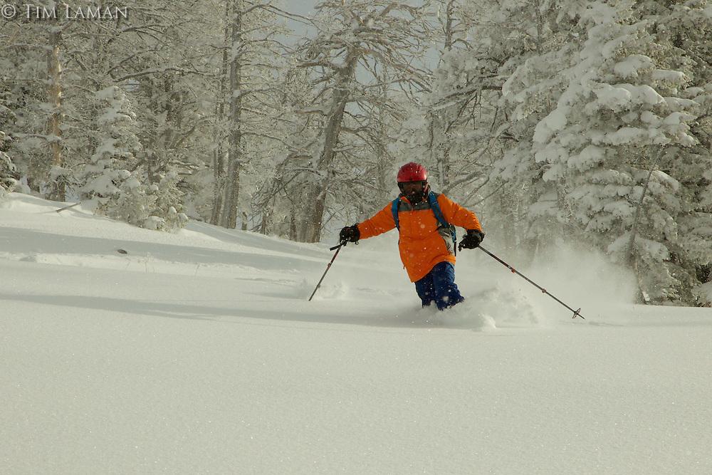 Russell Laman (age 12) backcountry skiing in the Teton Range at Teton Pass, Wyoming.<br /><br />Telemark skiing.