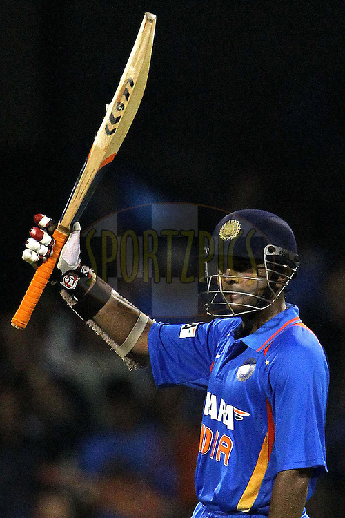 Parthiv Patel of India celebrates his fifty ( half century ) during the 4th ODI ( One day international ) between  India and New Zealand held at the M Chinnaswamy Stadium in Bengaluru, Bangalore, Karnataka, India on the 7 th December 2010..Photo by Ron Gaunt/BCCI/SPORTZPICS