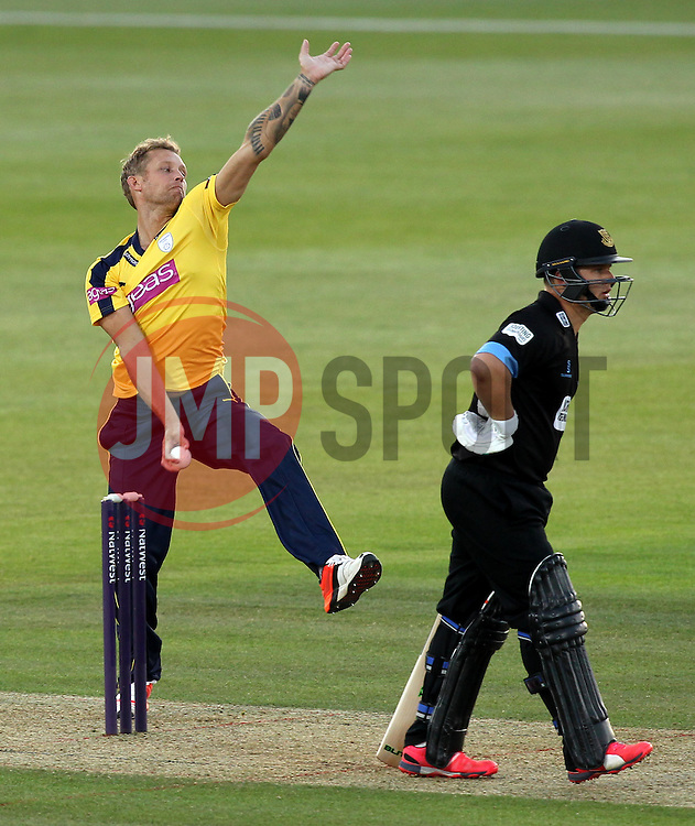 Hampshire's Gareth Berg bowls - Photo mandatory by-line: Robbie Stephenson/JMP - Mobile: 07966 386802 - 19/06/2015 - SPORT - Cricket - Southampton - The Ageas Bowl - Hampshire v Sussex - Natwest T20 Blast