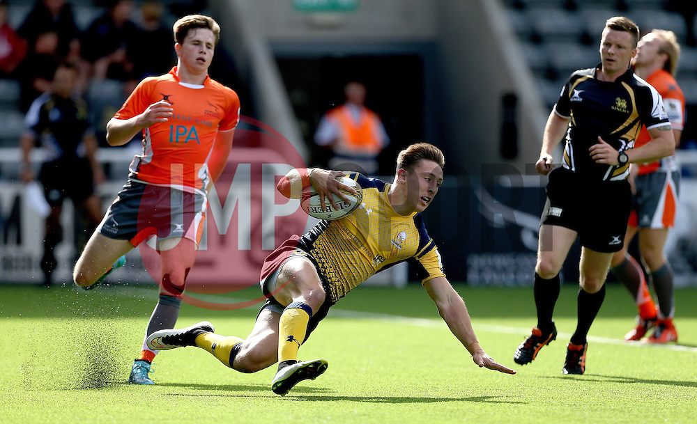 Josh Adams of Worcester Warriors scores a try against Newcastle Falcons - Mandatory by-line: Robbie Stephenson/JMP - 30/07/2016 - RUGBY - Kingston Park - Newcastle, England - Worcester Warriors v Newcastle Falcons - Singha Premiership 7s