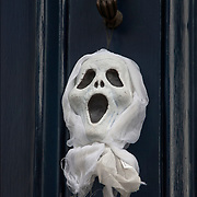 Halloween Decoration on front door in Greenwich Village.