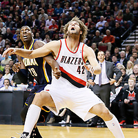 02 December 2013: Portland Trail Blazers center Robin Lopez (42) vies for the rebound with Indiana Pacers center Ian Mahinmi (28) during the Portland Trail Blazers 106-102 victory over the Indiana Pacers at the Moda Center, Portland, Oregon, USA.