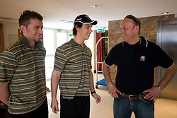 Andrej Hocevar, Ales Sila and Andrej Hebar st. at meeting of Slovenian Ice-Hockey National team, on April 15, 2010, in Hotel Lev, Ljubljana, Slovenia.  (Photo by Vid Ponikvar / Sportida)