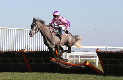 Southfield Stone and Harry Cobden clear an early flight before winning The Sky Bet Dovecote Novices Hurdle Race run at Kempton Park Racecourse.