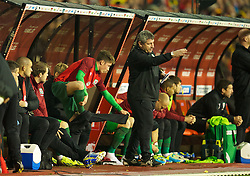 BRUSSELS, BELGIUM - Tuesday, October 15, 2013: Wales' substitute Harry Wilson prepares to make his debut during the 2014 FIFA World Cup Brazil Qualifying Group A match against Belgium at the Koning Boudewijnstadion. (Pic by David Rawcliffe/Propaganda)