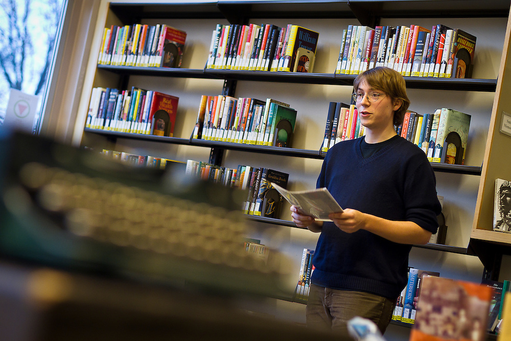 Head of the Letter Writers Alliance Tad Boehmer '12 reads an excerpt from Lewis Carroll's advice on letter-writing as a part of the Library SEPC's sponsored event in Burling Library on Wednesday.