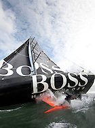 "Pictures of Alex Thomson (GBR) standing on the keel of his IMOCA Open 60 ""Hugo Boss"". Solent UK..Credit all pictures:Lloyd Images...."