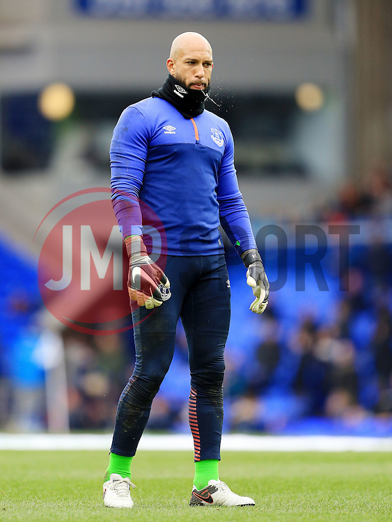 Everton's Tim Howard warms up - Mandatory byline: Matt McNulty/JMP - 19/03/2016 - FOOTBALL - Goodison Park - Liverpool, England - Everton v Arsenal - Barclays Premier League