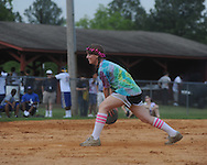 Michelle Davidson plays kick ball during Oxford High senior field day at Stone Park in Oxford, Miss. on Wednesday, May 12, 2010.