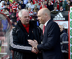 Brentford Manger, Uwe Rosler greets Swindon Town Manger, Kevin MacDonald- Photo mandatory by-line: Joe Meredith/JMP - Tel: Mobile: 07966 386802 04/05/2013 - SPORT - FOOTBALL - County Ground - Swindon - Swindon Town v Brentford - Npower League one Play Off
