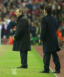 LIVERPOOL, ENGLAND - Tuesday, March 19, 2002: Liverpool's manager Gerard Houllier and AS Roma's manager Fabio Capello during the UEFA Champions League Group B match at Anfield. (Pic by David Rawcliffe/Propaganda)