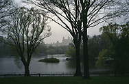 A misty scene over the Lake in Central Park, New York City
