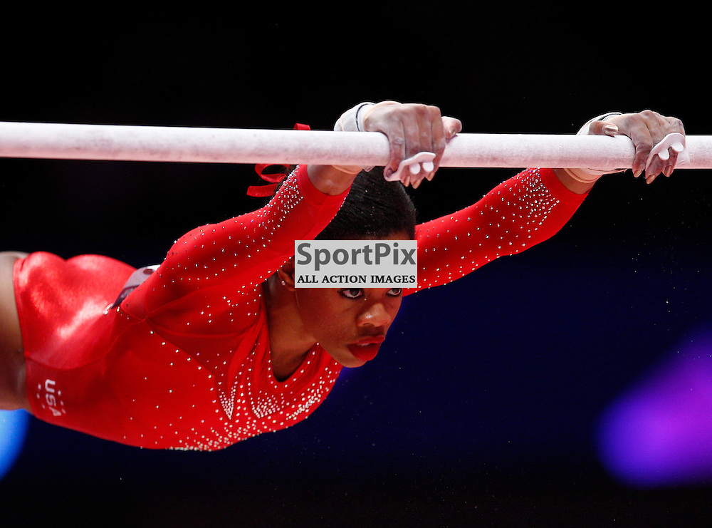 2015 Artistic Gymnastics World Championships being held in Glasgow from 23rd October to 1st November 2015.....Gabrielle Douglas (USA) performs on the Uneven Bars in the Women's All-Round Final...(c) STEPHEN LAWSON | SportPix.org.uk