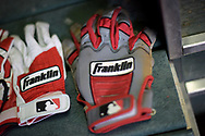 PHOENIX, AZ - JUNE 23:  Franklin batting gloves in the dugout of the Philadelphia Phillies at Chase Field on June 23, 2017 in Phoenix, Arizona.  (Photo by Jennifer Stewart/Getty Images)