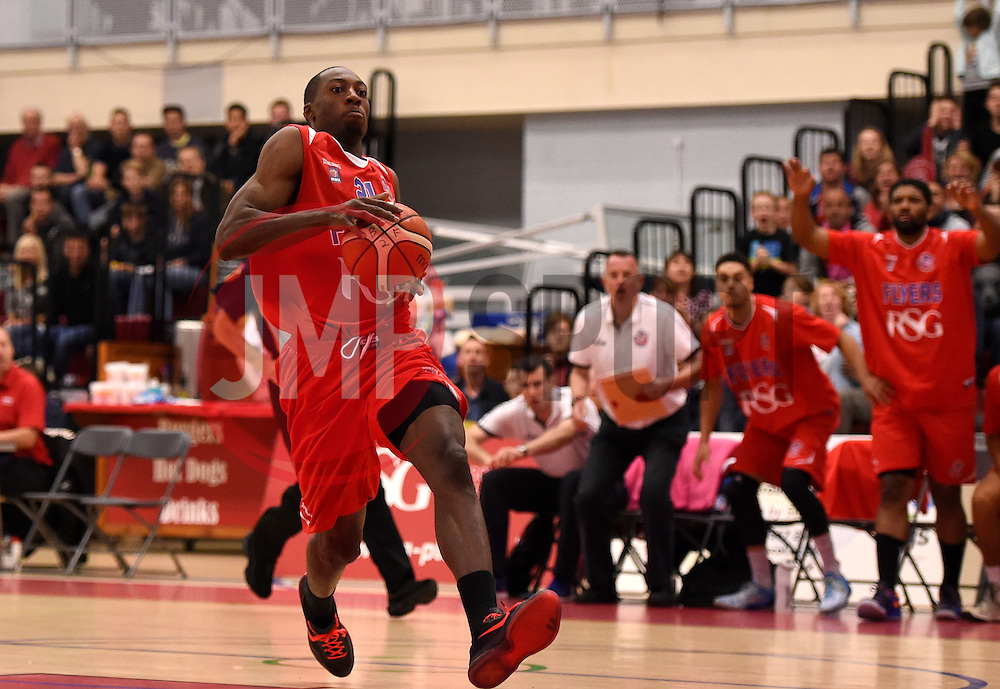 Tyrone Lee of Bristol Flyers breaks to score a basket  - Photo mandatory by-line: Joe Meredith/JMP - Mobile: 07966 386802 - 10/10/2015 - BASKETBALL - SGS Wise Arena - Bristol, England - Bristol Flyers v Newcastle Eagles - British Basketball League