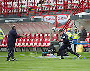 Dundee's Paul McGowan exercises under the watchful eye of physio Niam Mohammed before the game, McGowan missed out on a place in the squad, Manager Paul Hartley saying the game was &quot;Just too soon for him&quot; -  Hamilton Academical v Dundee, SPFL Premiership at New Douglas Park<br /> <br />  - &copy; David Young - www.davidyoungphoto.co.uk - email: davidyoungphoto@gmail.com