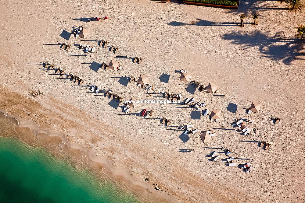 Aerial shot of a hotel beach in Abu Dhabi