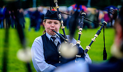 Peebles, Scotland UK  3rd September 2016. Peebles Highland Games, the biggest 'highland' games in the Scottish  Borders took place in Peebles on September 3rd 2016 featuring pipe band contests, highland dancing competitions, haggis hurling, hammer throwing, stone throwing and other traditional events.<br /> <br /> Pictured:  a piper warms up before the competition<br /> <br /> (c) Andrew Wilson | Edinburgh Elite media
