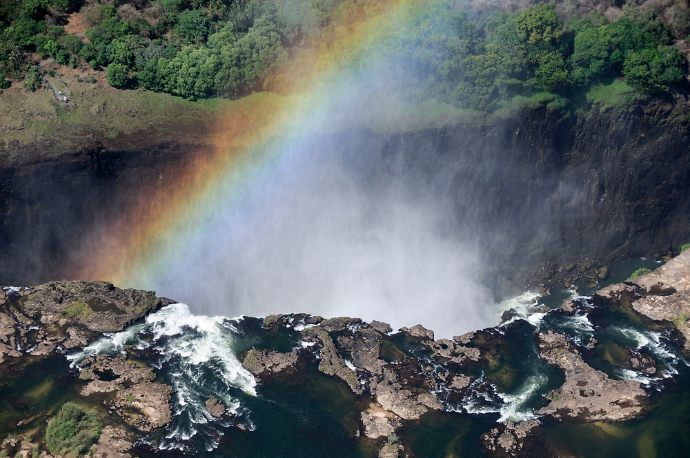 Aerial view, Victoria Falls with Rainbow, Zambesi River, Livingstone, Southern Province, Zambia