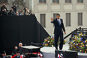 The President of the United States Barack Obama waving to the crowed after his speech which took place on Sunday the 5th of April at Hradcanske square in front of Prague castle in Czech Republic.